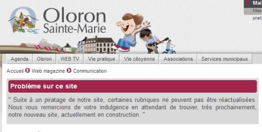 Piratage site Internet Oloron