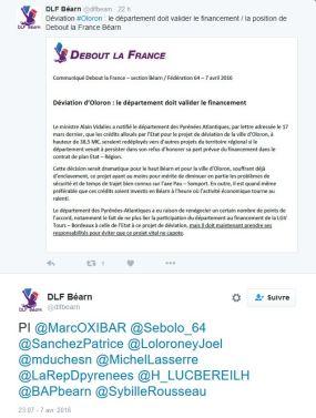 Communiqué Debout la France