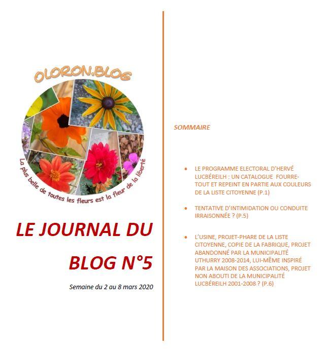 Le journal du blog n°5