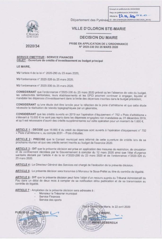 Réfection piste d'athlétisme - 16 600 € pour études