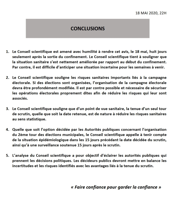 Conclusions du conseil scientifique 18 mai 2020 pdf